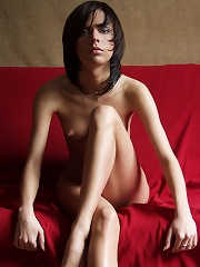 Zemani.com Marsel - Very beautiful brunet poses nude on the red coach.