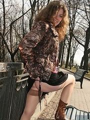 Sexy teen outdoors with no panties