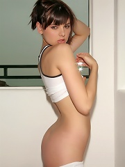 Cute tempting Dillan pulling down her skimpy white shorts flaunting her tight perky buns