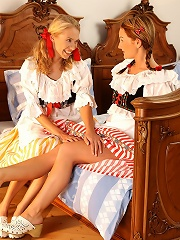 Jessica and Judit - Traditional dressed sirens have sex